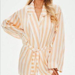 Peach Pastel Stripe Satin Piped Robe oversized NEW
